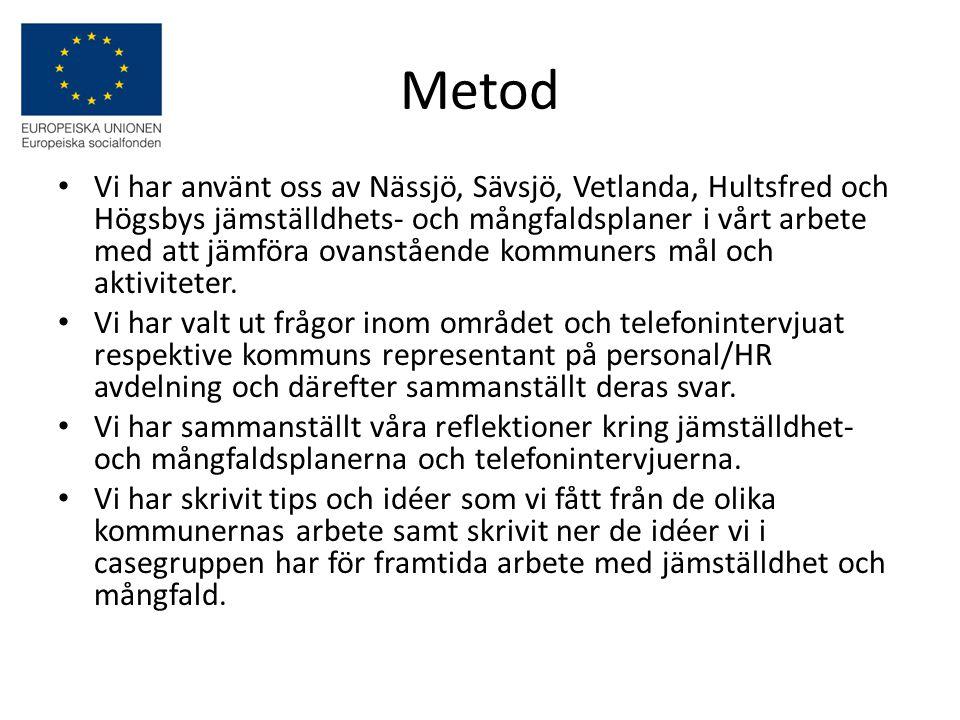 NässjöSävsjöVetlandaHultsfredHögsby Rekrytering av medarbetare till Nässjö kommun sak vara icke- diskriminerande och ska grunda sig på kompetens.