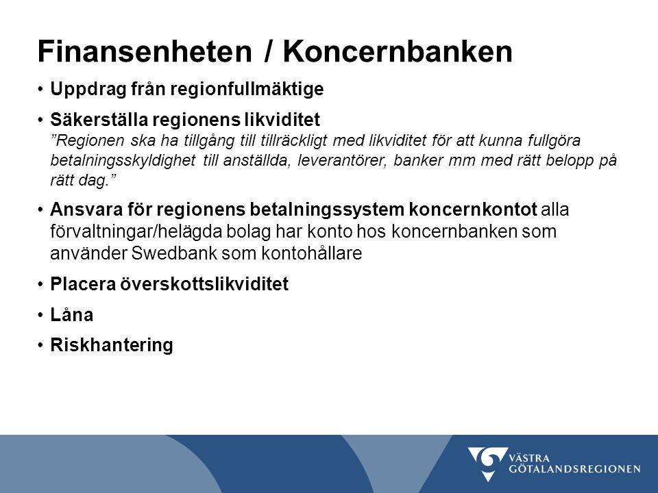 """Finansenheten / Koncernbanken Uppdrag från regionfullmäktige Säkerställa regionens likviditet """"Regionen ska ha tillgång till tillräckligt med likvidit"""