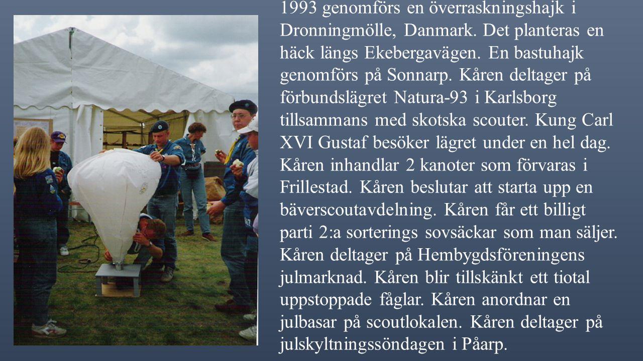 1993 genomförs en överraskningshajk i Dronningmölle, Danmark.