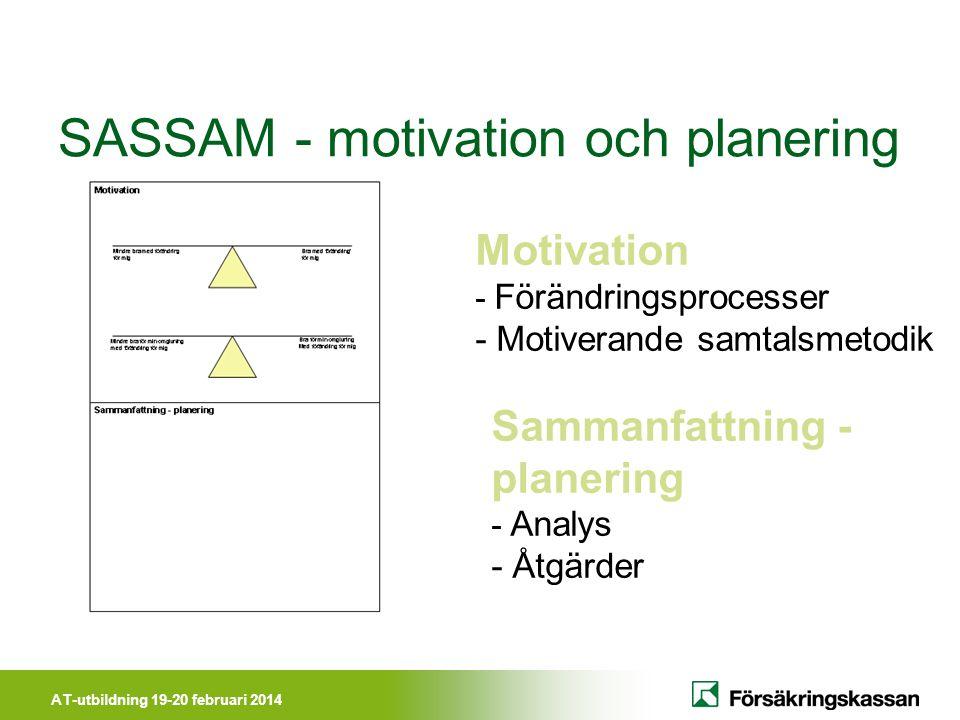 AT-utbildning 19-20 februari 2014 SASSAM - motivation och planering Motivation - Förändringsprocesser - Motiverande samtalsmetodik Sammanfattning - planering - Analys - Åtgärder