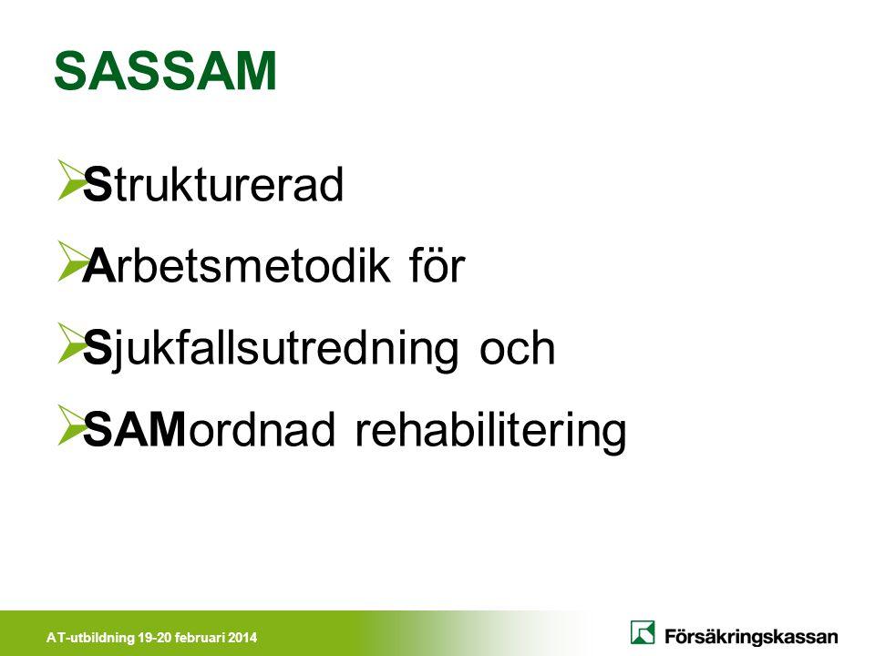 AT-utbildning 19-20 februari 2014 SASSAM  Strukturerad  Arbetsmetodik för  Sjukfallsutredning och  SAMordnad rehabilitering