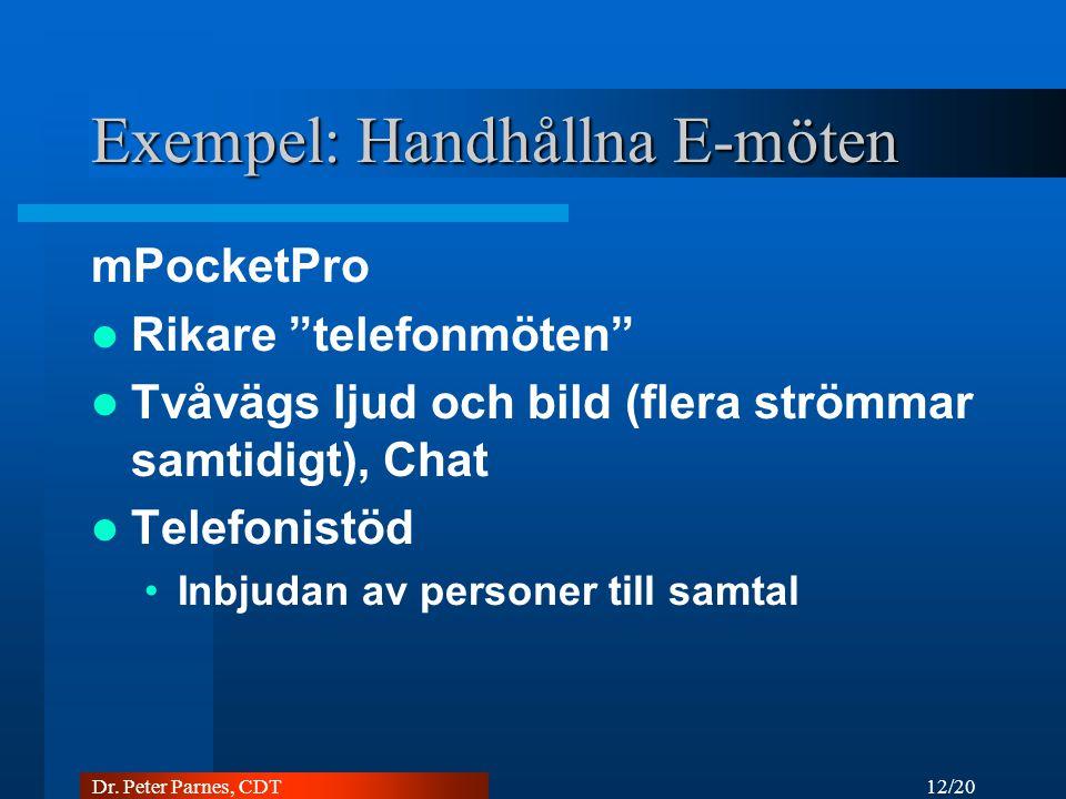 """12/20 Dr. Peter Parnes, CDT Exempel: Handhållna E-möten mPocketPro Rikare """"telefonmöten"""" Tvåvägs ljud och bild (flera strömmar samtidigt), Chat Telefo"""