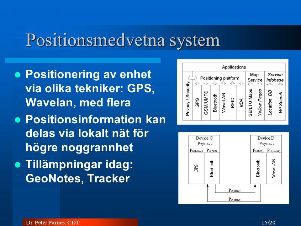 15/20 Dr. Peter Parnes, CDT Positionsmedvetna system Positionering av enhet via olika tekniker: GPS, Wavelan, med flera Positionsinformation kan delas