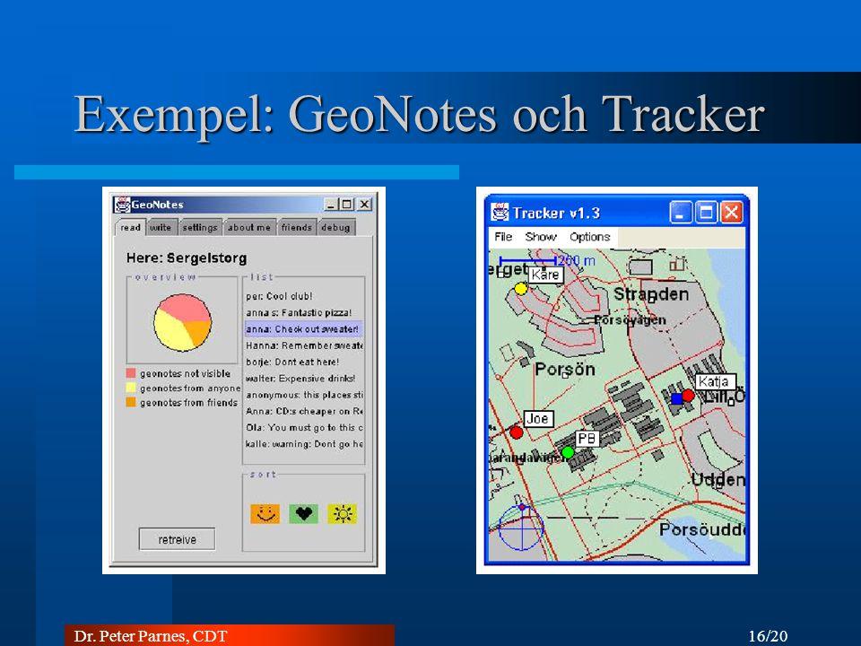 16/20 Dr. Peter Parnes, CDT Exempel: GeoNotes och Tracker