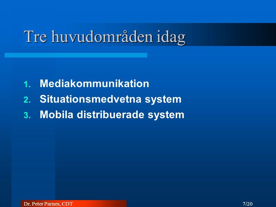 7/20 Dr. Peter Parnes, CDT Tre huvudområden idag 1. Mediakommunikation 2. Situationsmedvetna system 3. Mobila distribuerade system