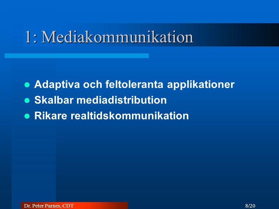 8/20 Dr. Peter Parnes, CDT 1: Mediakommunikation Adaptiva och feltoleranta applikationer Skalbar mediadistribution Rikare realtidskommunikation
