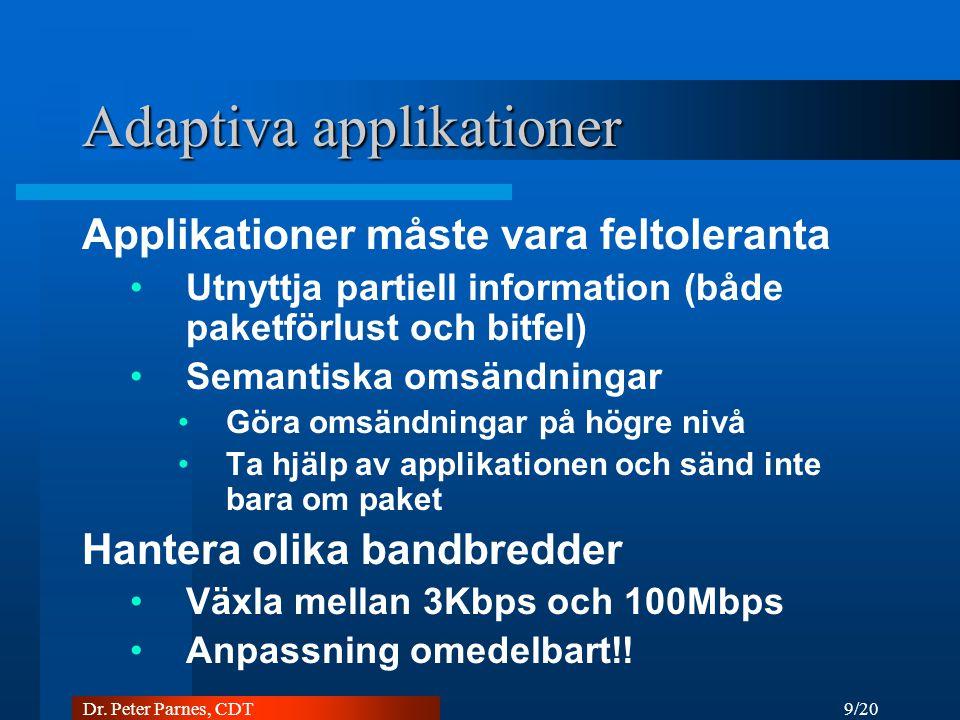 9/20 Dr. Peter Parnes, CDT Adaptiva applikationer Applikationer måste vara feltoleranta Utnyttja partiell information (både paketförlust och bitfel) S