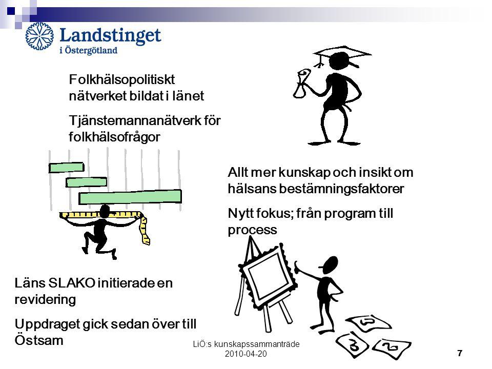 LiÖ:s kunskapssammanträde 2010-04-20 7 Läns SLAKO initierade en revidering Uppdraget gick sedan över till Östsam Folkhälsopolitiskt nätverket bildat i länet Tjänstemannanätverk för folkhälsofrågor Allt mer kunskap och insikt om hälsans bestämningsfaktorer Nytt fokus; från program till process