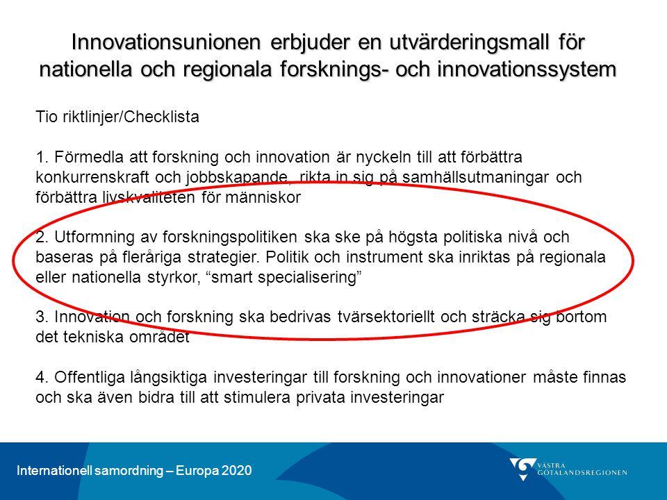 Internationell samordning – Europa 2020 Innovationsunionen erbjuder en utvärderingsmall för nationella och regionala forsknings- och innovationssystem Tio riktlinjer/Checklista 1.