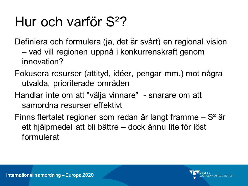 Internationell samordning – Europa 2020 Hur och varför S²? Definiera och formulera (ja, det är svårt) en regional vision – vad vill regionen uppnå i k