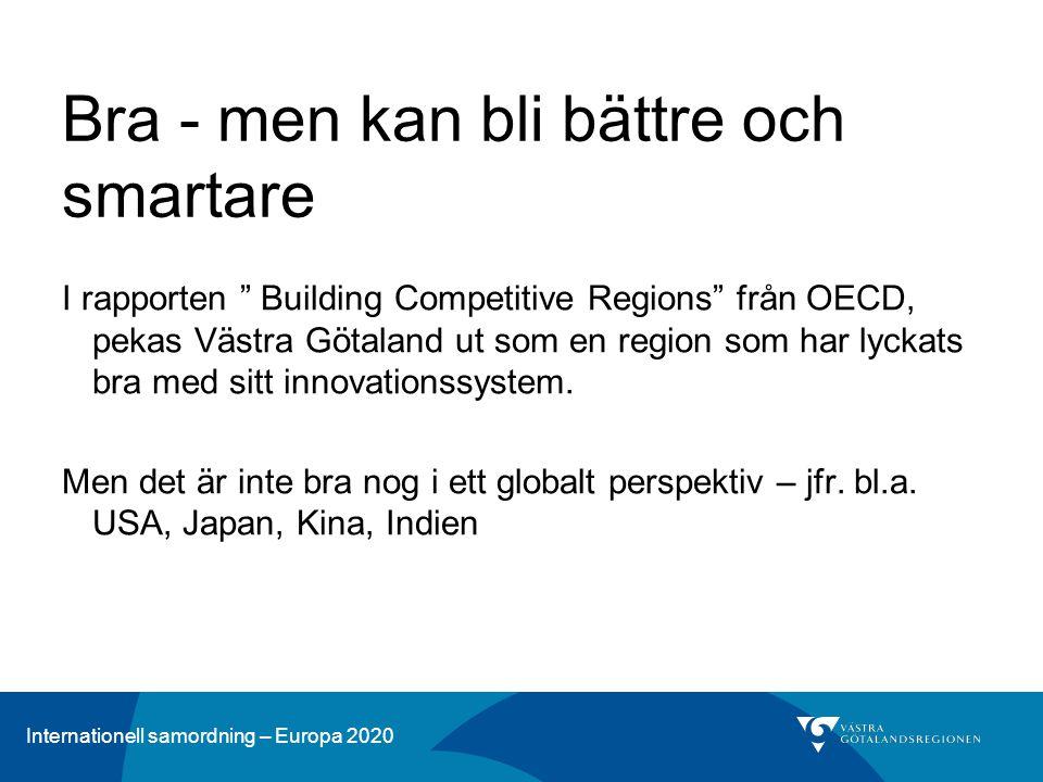 Internationell samordning – Europa 2020 Bra - men kan bli bättre och smartare I rapporten Building Competitive Regions från OECD, pekas Västra Götaland ut som en region som har lyckats bra med sitt innovationssystem.