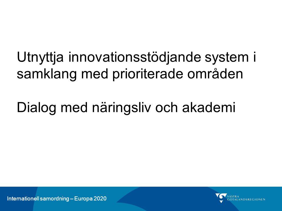 Internationell samordning – Europa 2020 Utnyttja innovationsstödjande system i samklang med prioriterade områden Dialog med näringsliv och akademi