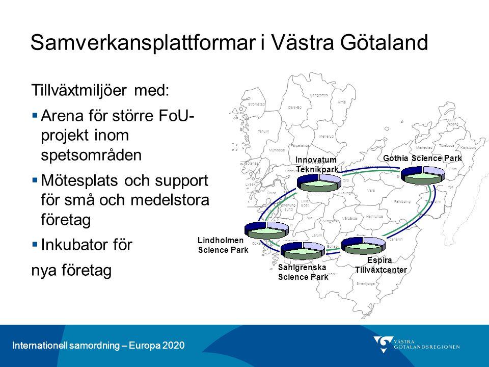 Internationell samordning – Europa 2020 Tillväxtmiljöer med:  Arena för större FoU- projekt inom spetsområden  Mötesplats och support för små och me
