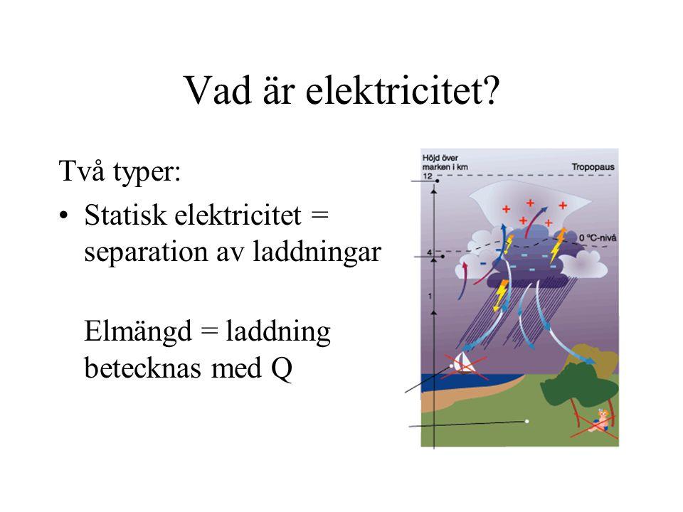 Vad är elektricitet? Två typer: Statisk elektricitet = separation av laddningar Elmängd = laddning betecknas med Q