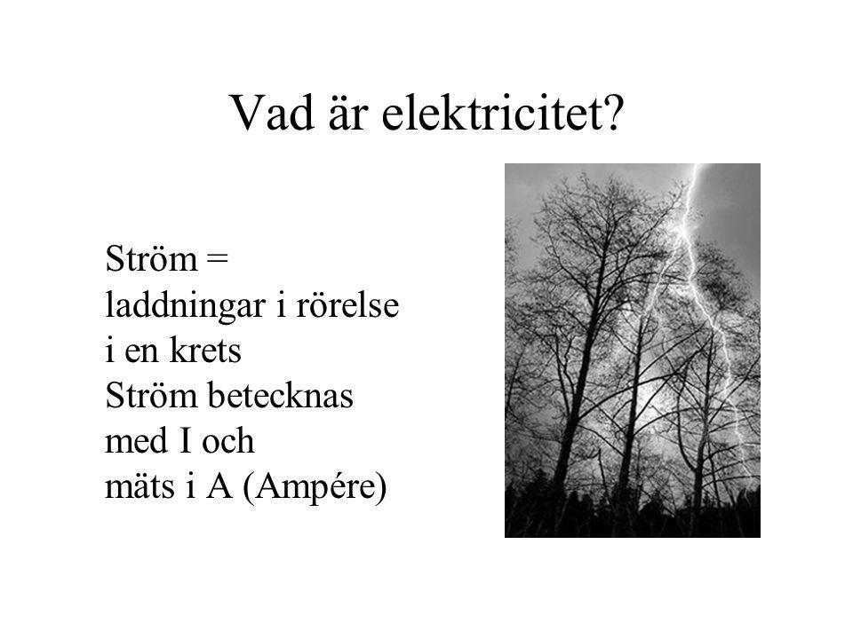 Vad är elektricitet? Ström = laddningar i rörelse i en krets Ström betecknas med I och mäts i A (Ampére)