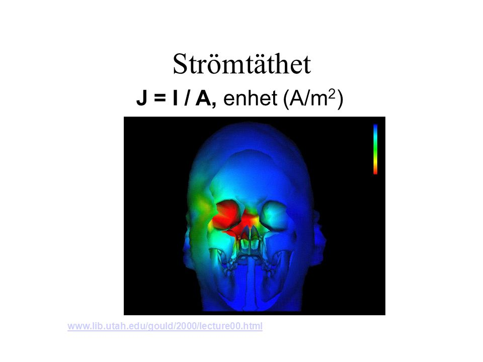 Strömtäthet J = I / A, enhet (A/m 2 ) www.lib.utah.edu/gould/2000/lecture00.html