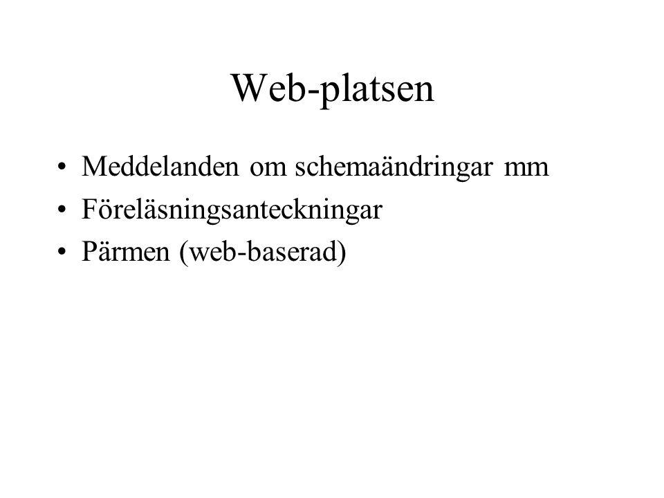 Web-platsen Meddelanden om schemaändringar mm Föreläsningsanteckningar Pärmen (web-baserad)