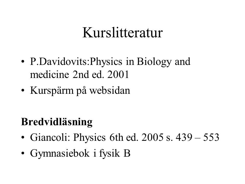 Kurslitteratur P.Davidovits:Physics in Biology and medicine 2nd ed. 2001 Kurspärm på websidan Bredvidläsning Giancoli: Physics 6th ed. 2005 s. 439 – 5