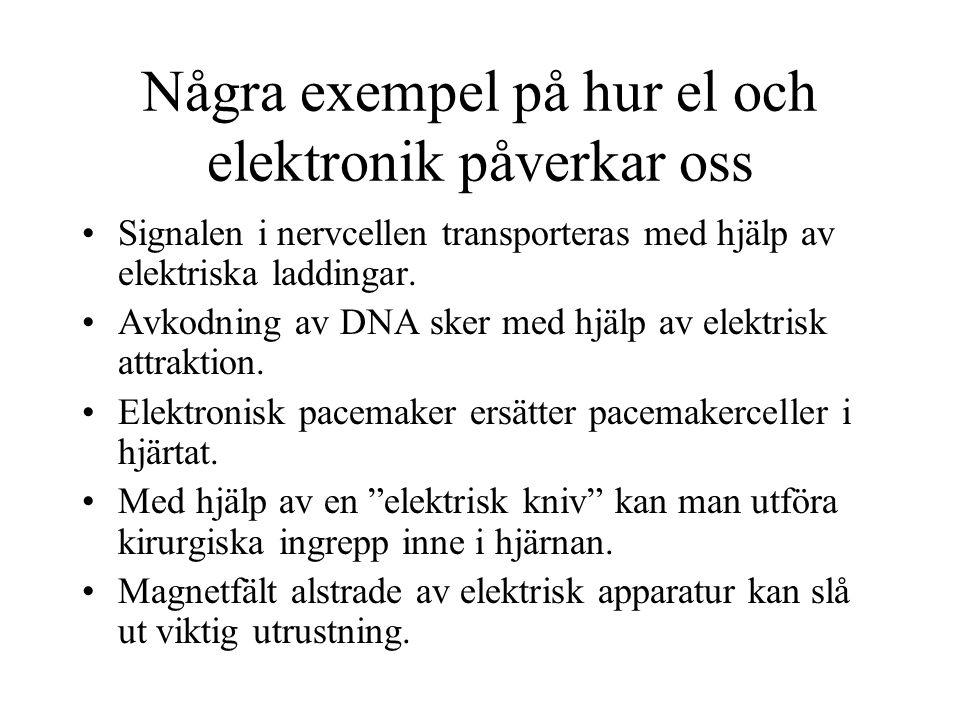 Några exempel på hur el och elektronik påverkar oss Signalen i nervcellen transporteras med hjälp av elektriska laddingar. Avkodning av DNA sker med h
