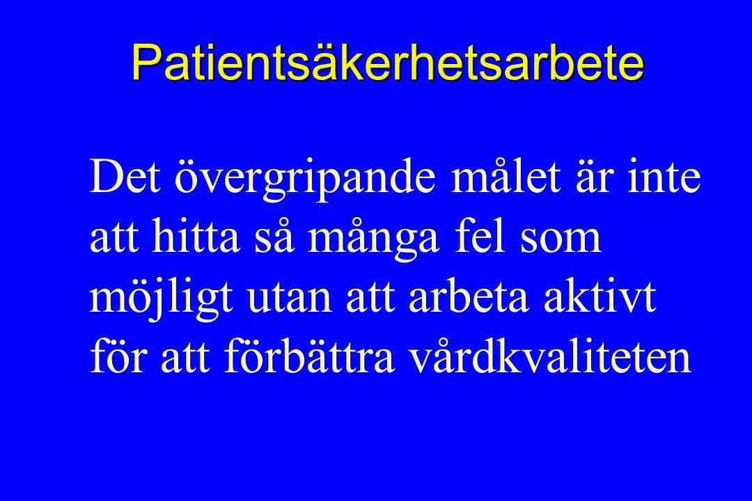 Patientsäkerhetsarbete Det övergripande målet är inte att hitta så många fel som möjligt utan att arbeta aktivt för att förbättra vårdkvaliteten