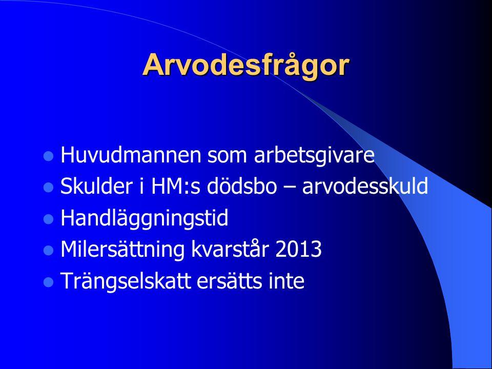 Arvodesfrågor Huvudmannen som arbetsgivare Skulder i HM:s dödsbo – arvodesskuld Handläggningstid Milersättning kvarstår 2013 Trängselskatt ersätts inte