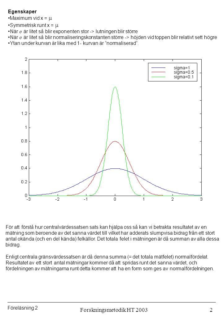 Föreläsning 2 Forskningsmetodik HT 20033 Exempel: Summera tal slumpvis fördelade mellan 0 och 1: Den ursprungliga fördelningen: Summan av 2 tal:5 termer20 termer När kan man förvänta sig en normalfördelning.