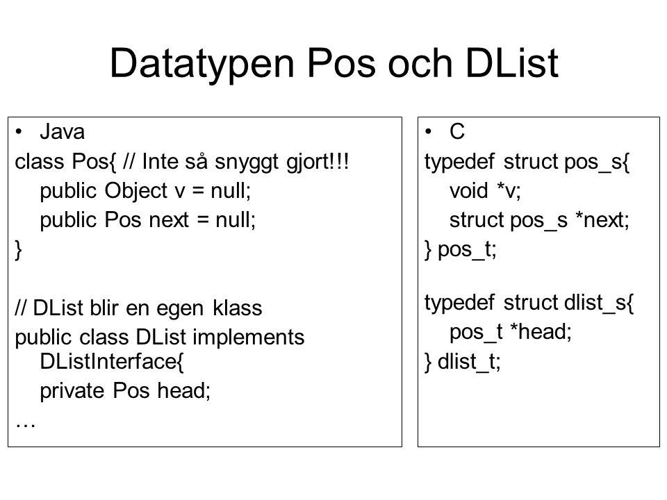 Datatypen Pos och DList Java class Pos{ // Inte så snyggt gjort!!! public Object v = null; public Pos next = null; } // DList blir en egen klass publi
