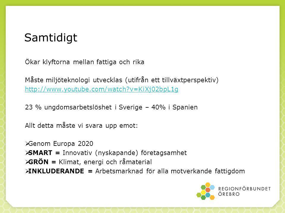 Ökar klyftorna mellan fattiga och rika Måste miljöteknologi utvecklas (utifrån ett tillväxtperspektiv) http://www.youtube.com/watch v=KiXj02bpL1g 23 % ungdomsarbetslöshet i Sverige – 40% i Spanien Allt detta måste vi svara upp emot:  Genom Europa 2020  SMART = Innovativ (nyskapande) företagsamhet  GRÖN = Klimat, energi och råmaterial  INKLUDERANDE = Arbetsmarknad för alla motverkande fattigdom Samtidigt