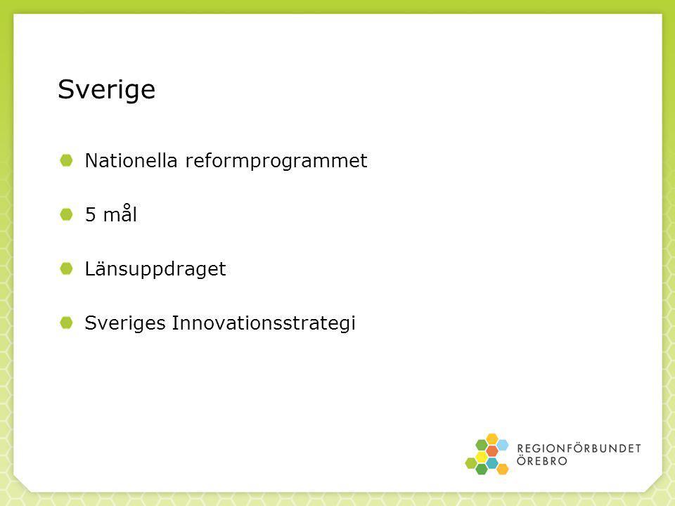 Sverige Nationella reformprogrammet 5 mål Länsuppdraget Sveriges Innovationsstrategi