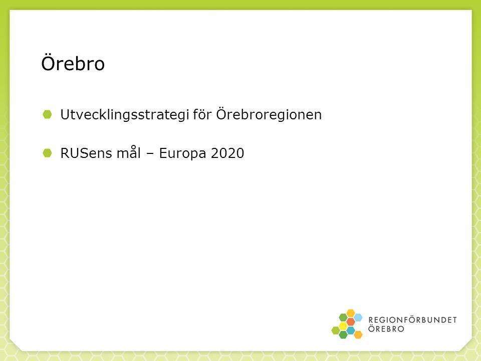 Örebro Utvecklingsstrategi för Örebroregionen RUSens mål – Europa 2020
