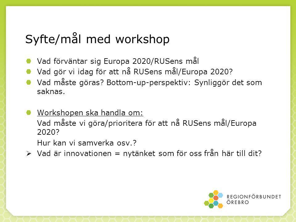 Syfte/mål med workshop Vad förväntar sig Europa 2020/RUSens mål Vad gör vi idag för att nå RUSens mål/Europa 2020.