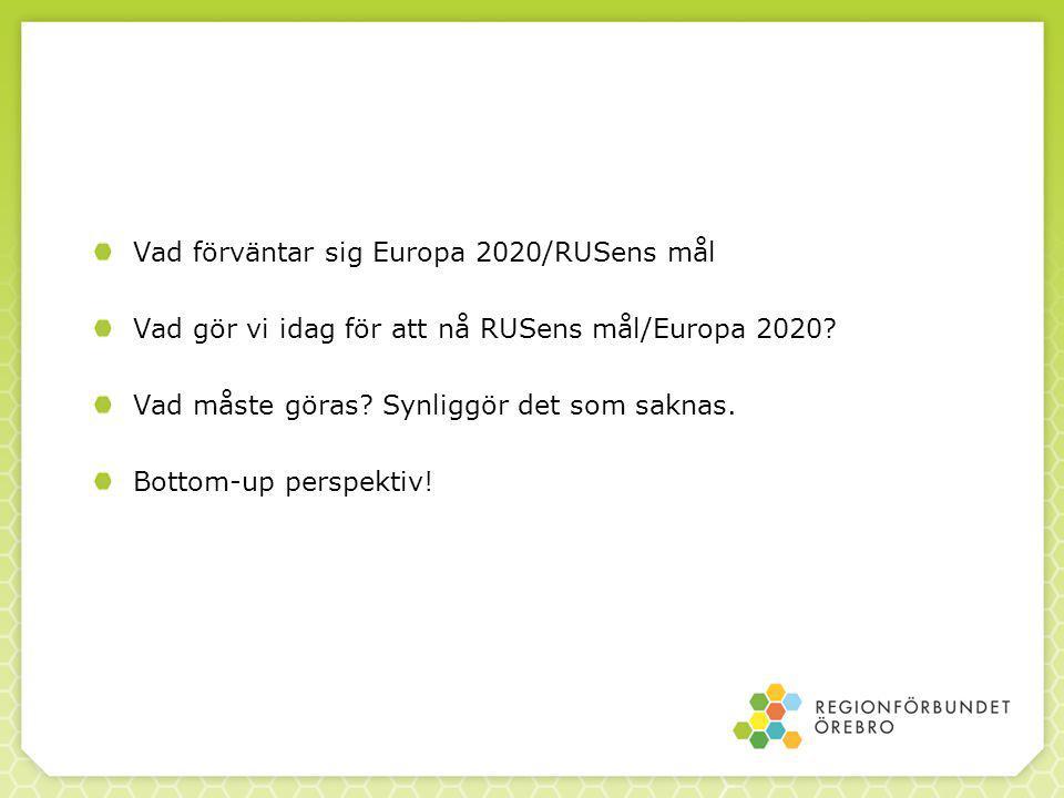 Vad förväntar sig Europa 2020/RUSens mål Vad gör vi idag för att nå RUSens mål/Europa 2020.