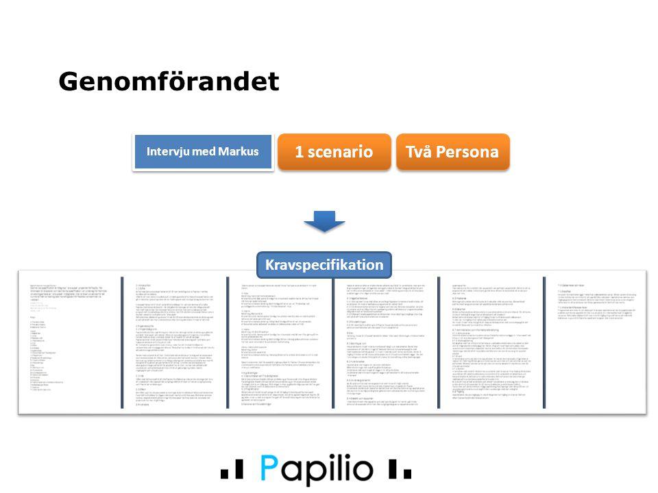 Två Persona 1 scenario Genomförandet Kravspecifikation Intervju med Markus