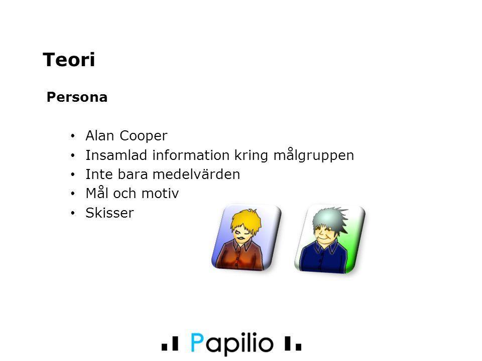 Persona Alan Cooper Insamlad information kring målgruppen Inte bara medelvärden Mål och motiv Skisser Teori