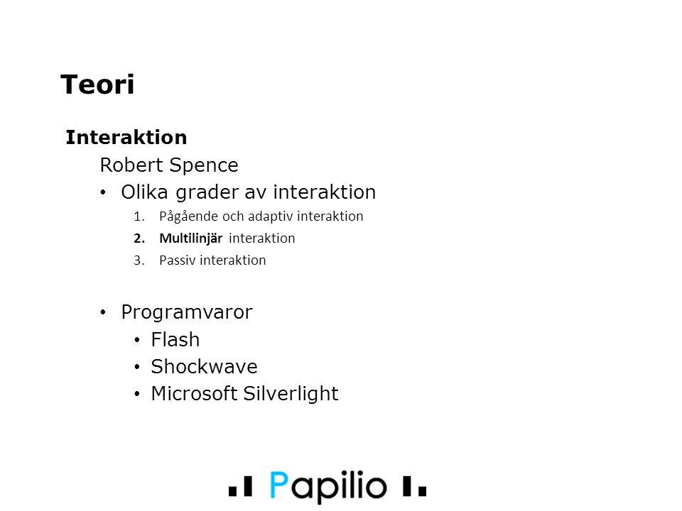 Interaktion Robert Spence Olika grader av interaktion 1.Pågående och adaptiv interaktion 2.Multilinjär interaktion 3.Passiv interaktion Programvaror Flash Shockwave Microsoft Silverlight Teori