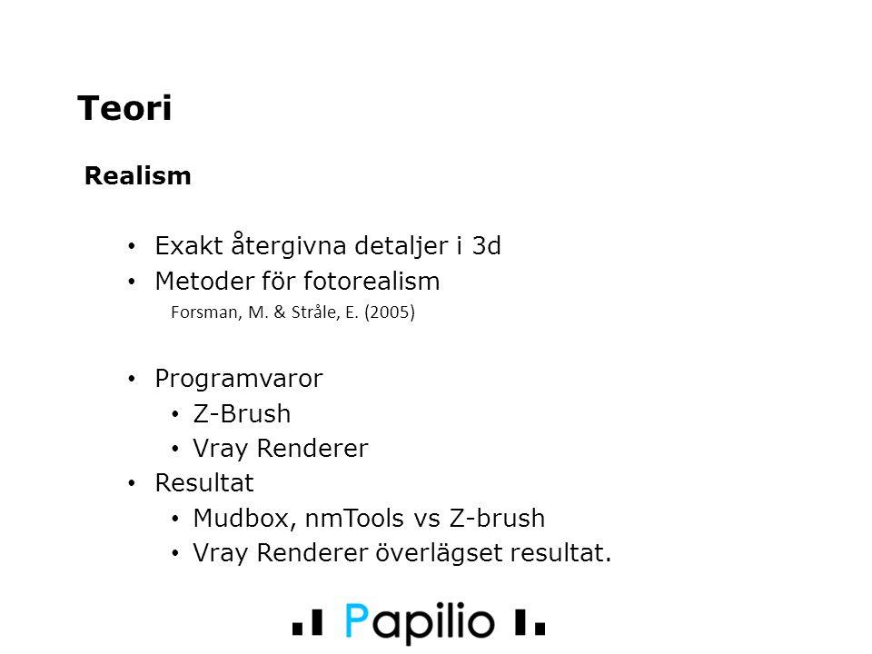 Realism Exakt återgivna detaljer i 3d Metoder för fotorealism Forsman, M. & Stråle, E. (2005) Programvaror Z-Brush Vray Renderer Resultat Mudbox, nmTo