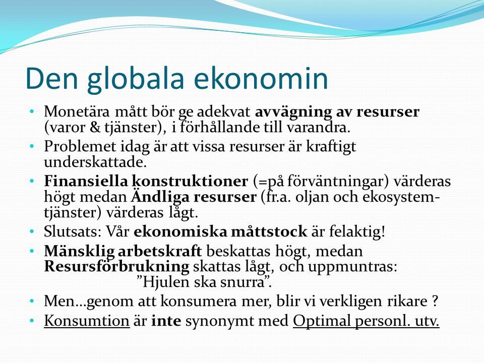 Den globala ekonomin Monetära mått bör ge adekvat avvägning av resurser (varor & tjänster), i förhållande till varandra. Problemet idag är att vissa r