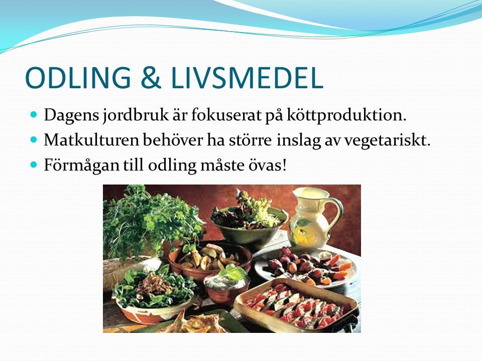 ODLING & LIVSMEDEL Dagens jordbruk är fokuserat på köttproduktion. Matkulturen behöver ha större inslag av vegetariskt. Förmågan till odling måste öva
