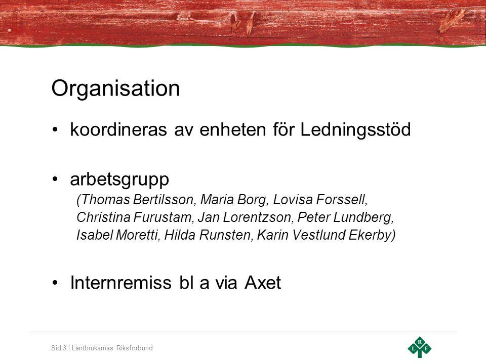 Sid 3 | Lantbrukarnas Riksförbund Organisation koordineras av enheten för Ledningsstöd arbetsgrupp (Thomas Bertilsson, Maria Borg, Lovisa Forssell, Ch