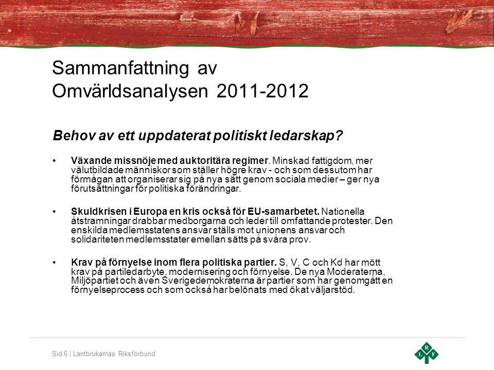 Sid 6 | Lantbrukarnas Riksförbund Behov av ett uppdaterat politiskt ledarskap? Växande missnöje med auktoritära regimer. Minskad fattigdom, mer välutb