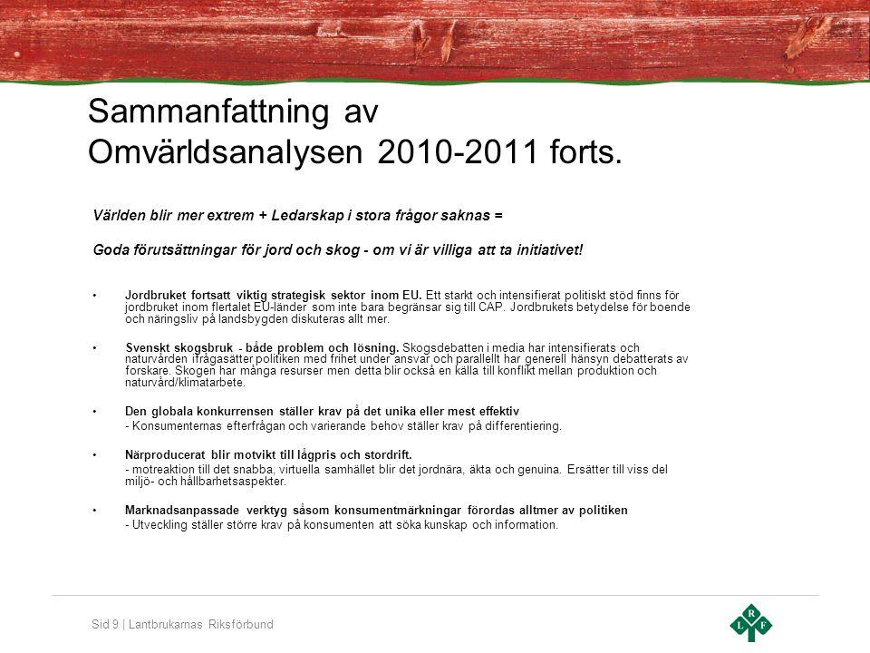 Sid 9 | Lantbrukarnas Riksförbund Sammanfattning av Omvärldsanalysen 2010-2011 forts. Världen blir mer extrem + Ledarskap i stora frågor saknas = Goda