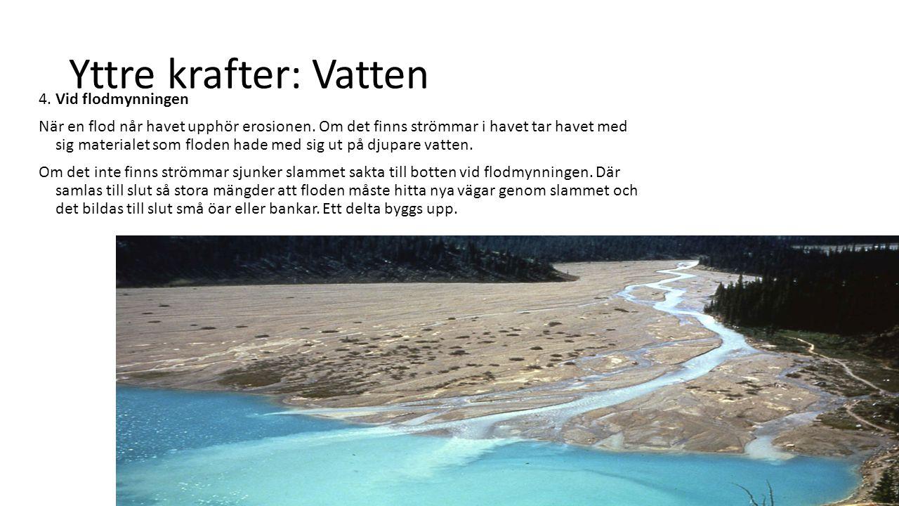 Yttre krafter: Vatten 4. Vid flodmynningen När en flod når havet upphör erosionen. Om det finns strömmar i havet tar havet med sig materialet som flod