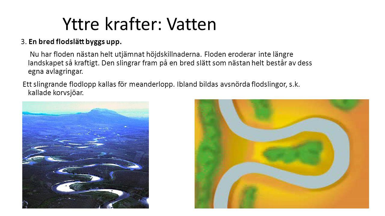 Yttre krafter: Vatten 4.Vid flodmynningen När en flod når havet upphör erosionen.