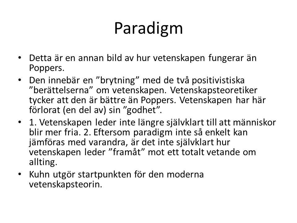 Paradigm Detta är en annan bild av hur vetenskapen fungerar än Poppers.