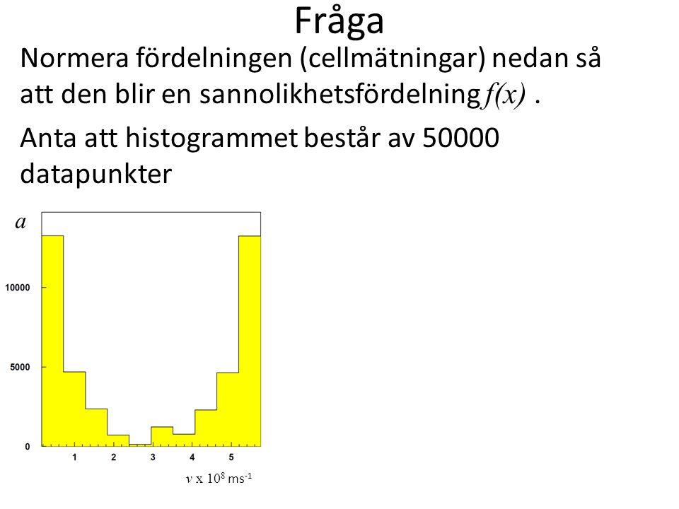 Fråga Normera fördelningen (cellmätningar) nedan så att den blir en sannolikhetsfördelning f(x). Anta att histogrammet består av 50000 datapunkter v x