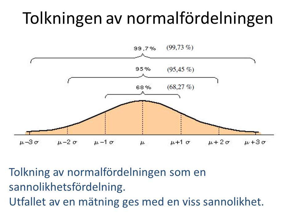 Tolkningen av normalfördelningen Tolkning av normalfördelningen som en sannolikhetsfördelning. Utfallet av en mätning ges med en viss sannolikhet.