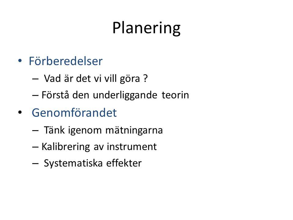 Planering Förberedelser – Vad är det vi vill göra ? – Förstå den underliggande teorin Genomförandet – Tänk igenom mätningarna – Kalibrering av instrum