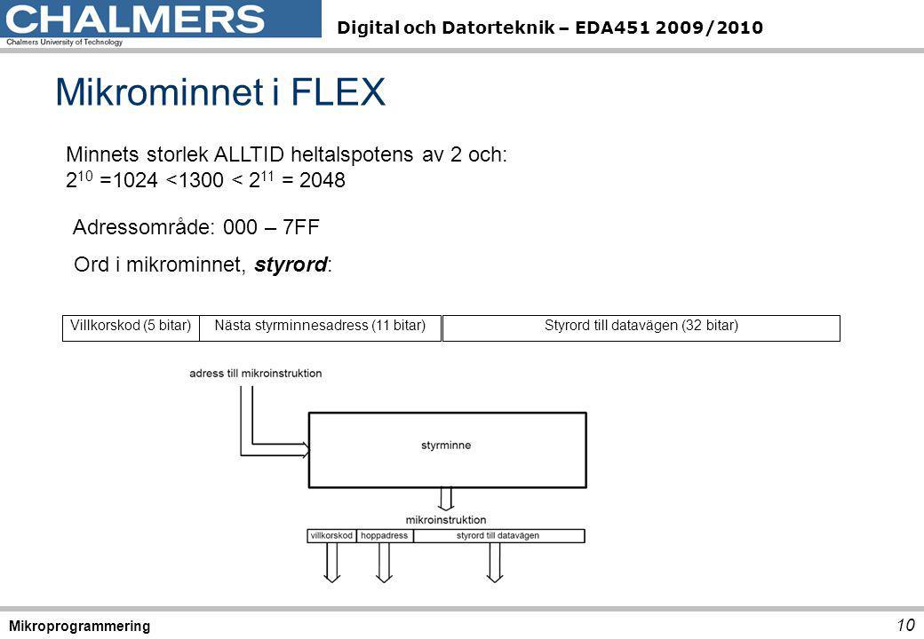 Digital och Datorteknik – EDA451 2009/2010 Mikrominnet i FLEX 10 Mikroprogrammering Styrord till datavägen (32 bitar)Nästa styrminnesadress (11 bitar)