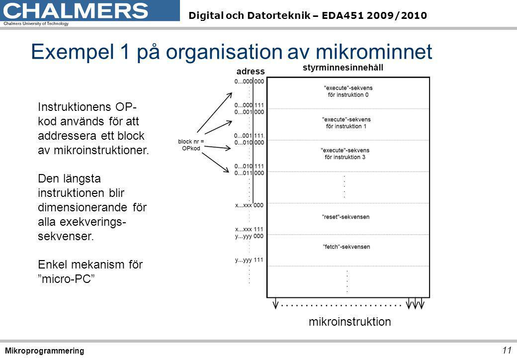 Digital och Datorteknik – EDA451 2009/2010 Exempel 1 på organisation av mikrominnet 11 Mikroprogrammering mikroinstruktion Instruktionens OP- kod används för att addressera ett block av mikroinstruktioner.