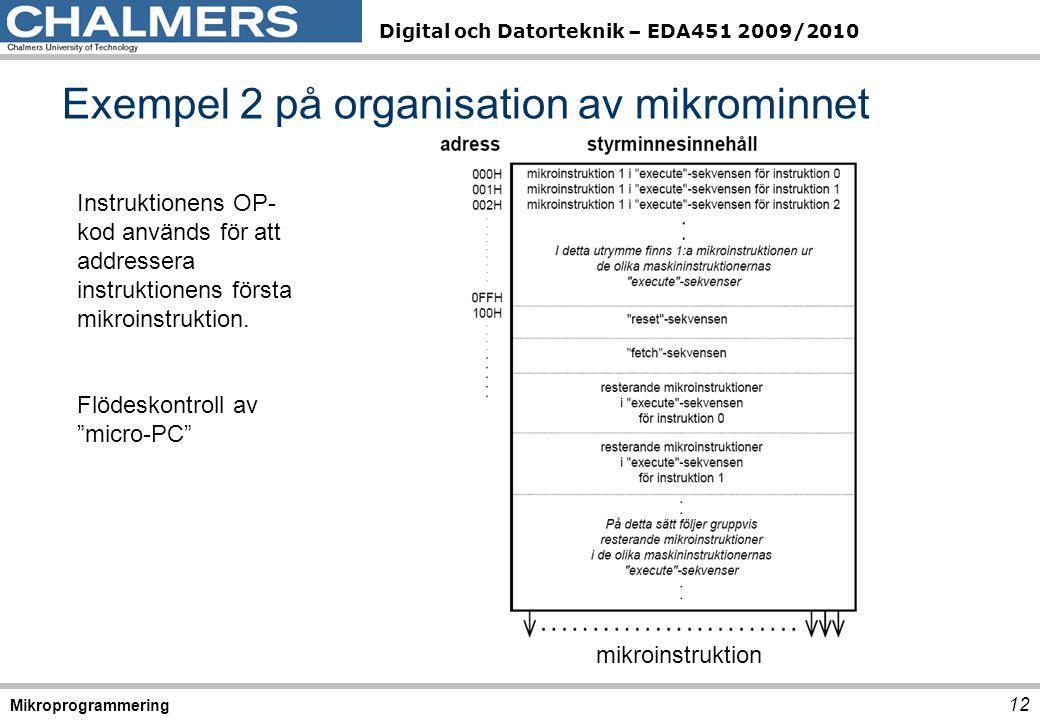 Digital och Datorteknik – EDA451 2009/2010 12 Mikroprogrammering Exempel 2 på organisation av mikrominnet mikroinstruktion Instruktionens OP- kod anvä